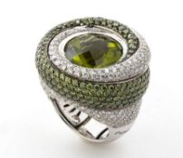 Peridots and diamonds ring