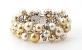 South sea pearls colored stone bracelet - manifacture UTOPIA, Italy