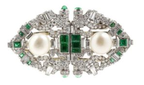 "Emerald and diamond ""duette"" brooch"