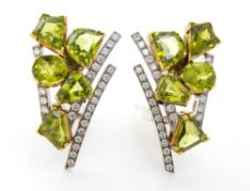 Diamonds and peridots brooch