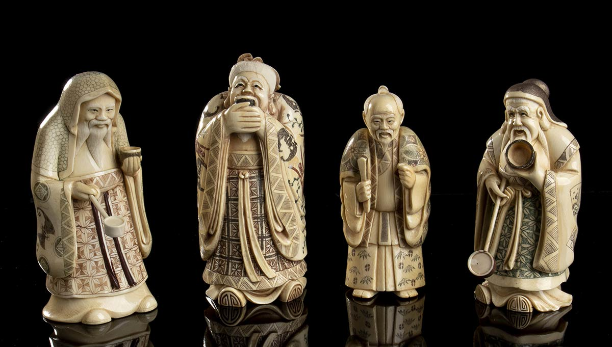 FOUR IVORY SCULPTURESChina, early 20th century
