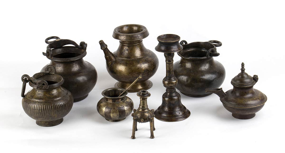 EIGHT COPPER ALLOY CONTAINERS, ONE WITH A SPOONIndia, 19th - 20th century