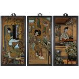 THREE REVERSE GLASS PAINTINGS WITH LADIES IN AN INTERIORChina, 20th century