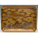 A LACQUERED AND GILT WOOD TRAY, KOBONJapan, 19th century