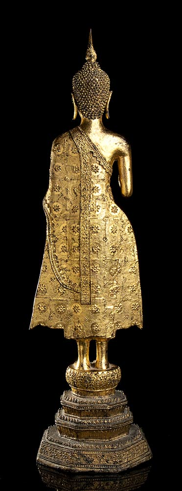 A GILT METAL STANDING BUDDHA Thailand, 20th century - Image 3 of 4