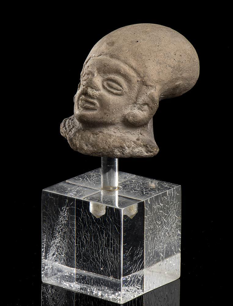 A CLAY MAN HEADMexico, Aztec, 16th century - Image 2 of 3