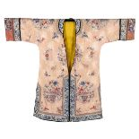 AN EMBROIDERED SILK FEMALE ROBEChina, Qing dynasty, 19th century