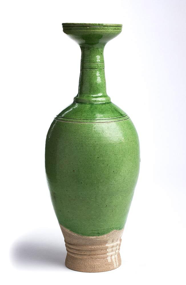 A GREEN-GLAZED BOTTLE VASEChina, Liao dynasty