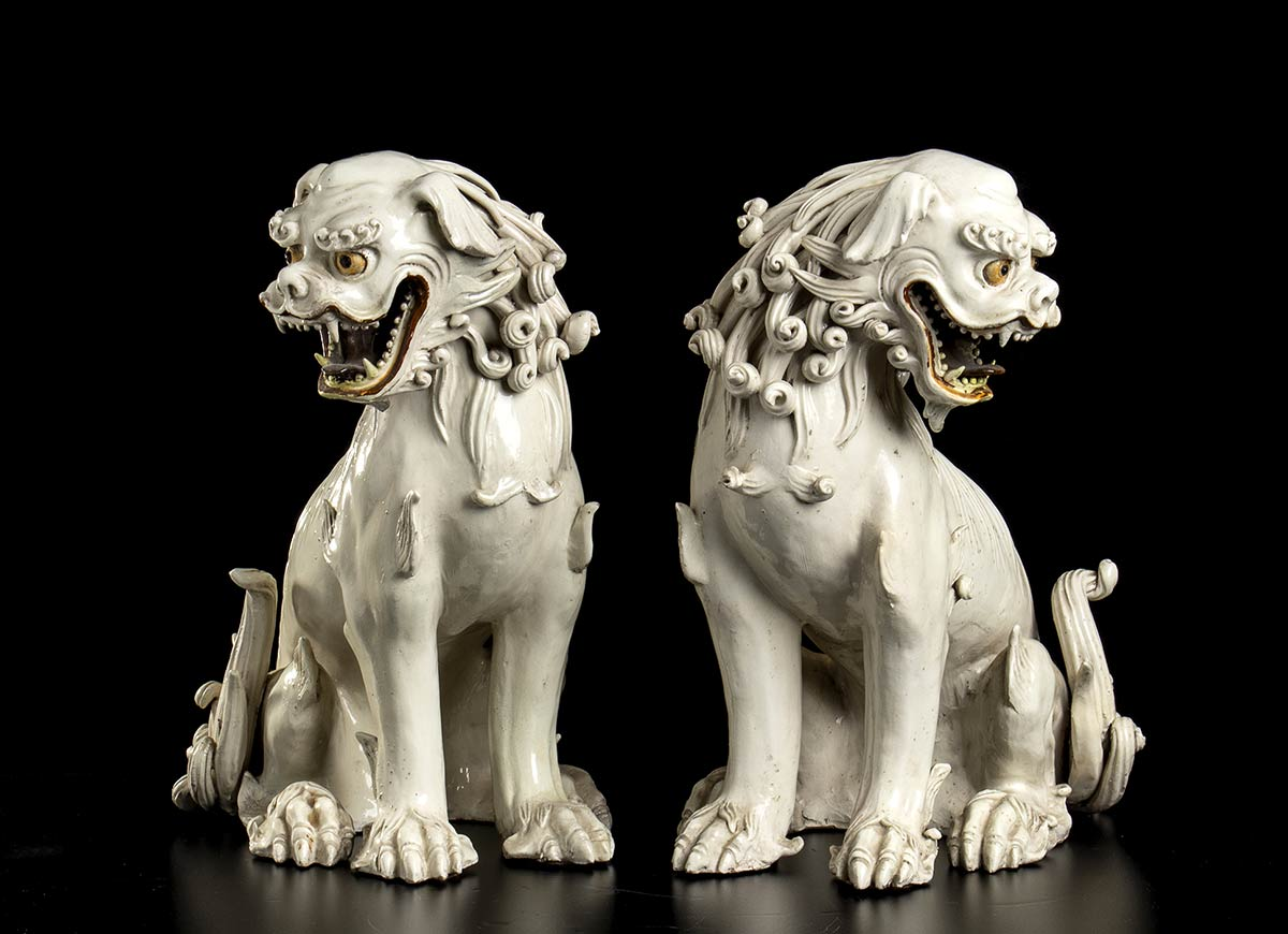 A PAIR OF GLAZED CERAMIC BUDDHIST LIONS Japan, 19th century - Image 2 of 2