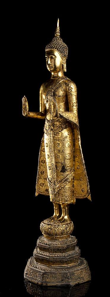 A GILT METAL STANDING BUDDHA Thailand, 20th century - Image 2 of 4