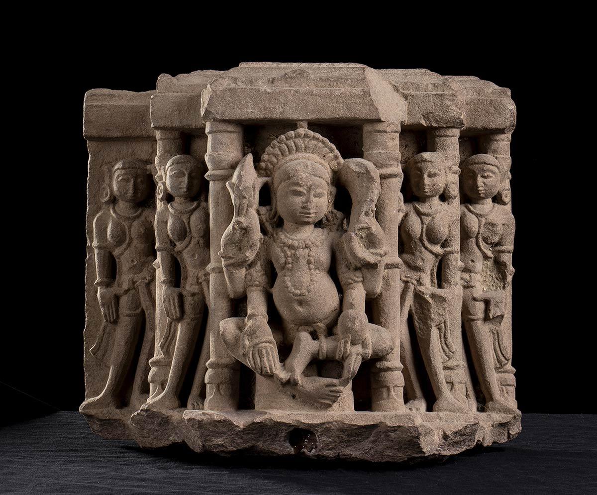 A STONE RELIEF WITH DEITIESIndia, Mathura, style of the Kushana period