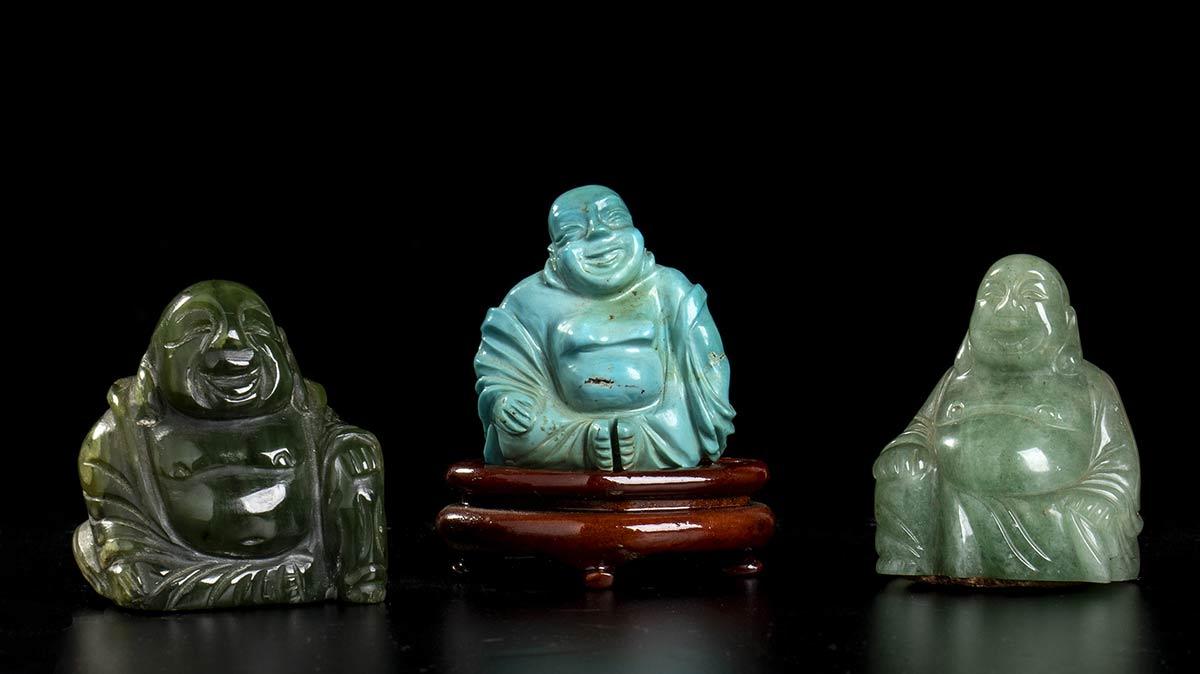 THREE BUDAI, ONE IN TURQUOISE TWO IN JADEChina, 20th century
