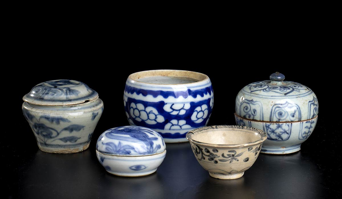 FIVE PORCELAIN CONTAINERSChina and Southeast Asia