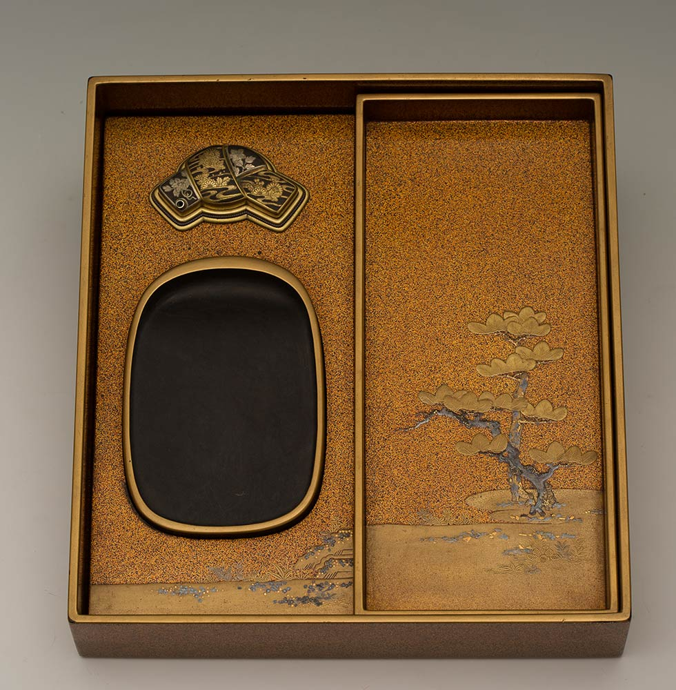 A LACQUERED AND GILT WOOD WRITING SET, SUZURIBAKOJapan, 19th century - Image 3 of 10
