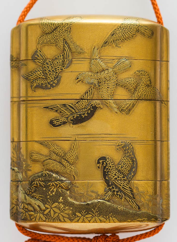 A LACQUERED AND GILT WOOD FOUR COMPARTMENTS INROJapan, 19th century - Image 3 of 3