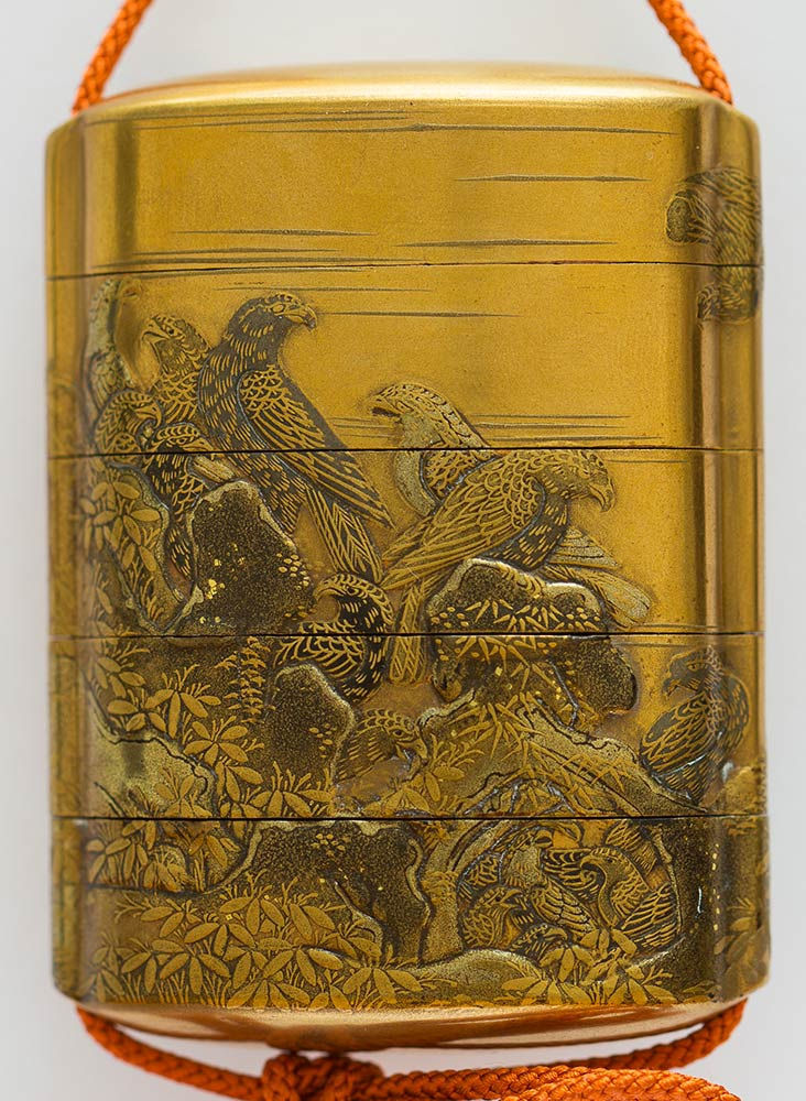 A LACQUERED AND GILT WOOD FOUR COMPARTMENTS INROJapan, 19th century