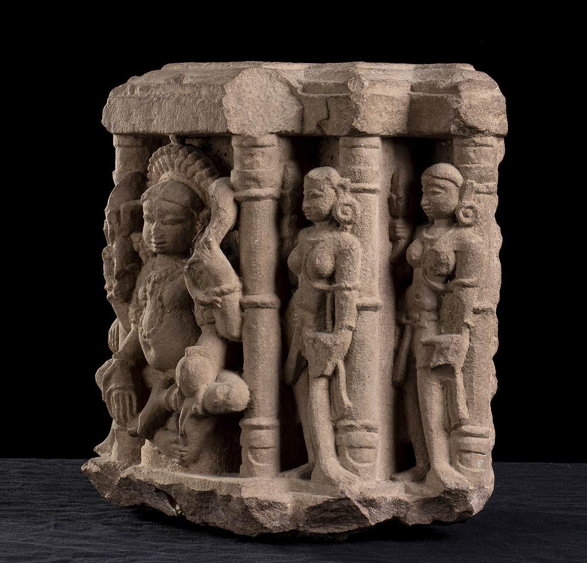 A STONE RELIEF WITH DEITIESIndia, Mathura, style of the Kushana period - Image 2 of 3