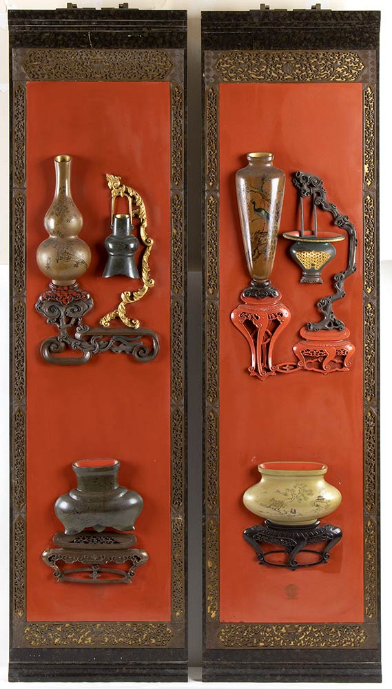 A PAIR OF LACQUERED AND GILT WOOD PANELSChina, 20th century