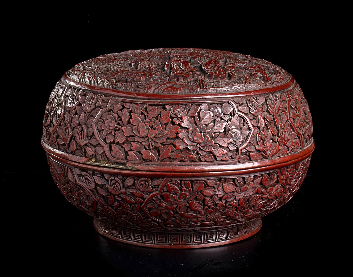 A CARVED RED LACQUER CIRCULAR BOX AND COVERChina, 19th-20th century