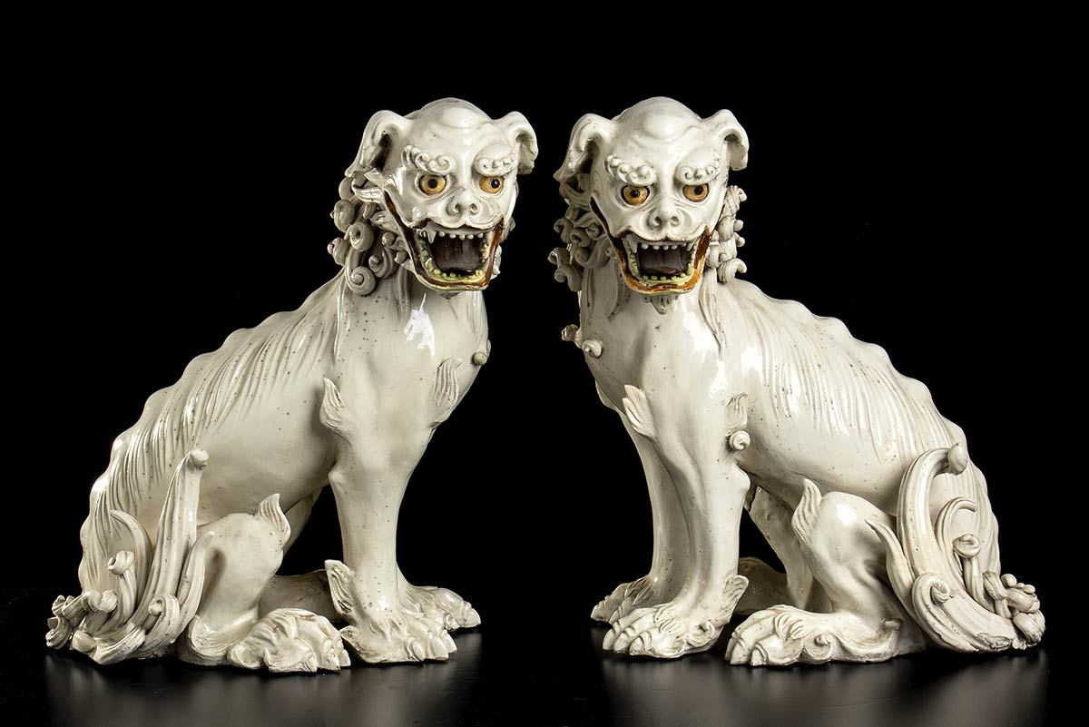 A PAIR OF GLAZED CERAMIC BUDDHIST LIONS Japan, 19th century