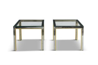 TABLES A pair of chrome and brass tables, attributed to Renato Zevi for Romeo Rega, with glass tops.
