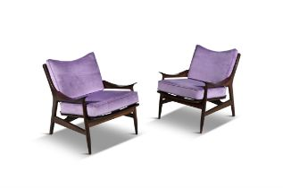 ARMCHAIRS A pair of rosewood armchairs, with loose purple velour seat and back, Italy c.1950.