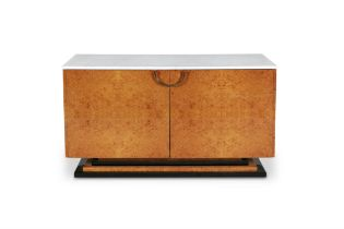 DAGHIA A burr walnut sideboard by Daghia, with a marble top, mirror interior with two glass shelves