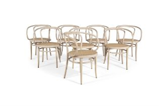 THONET A set of eight 'Model 209' chairs by Thonet, beech frame with cane seats,