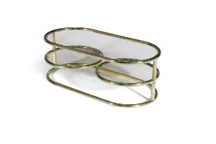 COFFEE TABLE A two tier brass coffee table, with smoked glass tops, the lower circular tops with