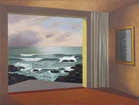 STEPHEN MCKENNA PRHA (1939-2017) Room at the Sea I Oil on canvas, 61 x 81cm Signed; also signed and