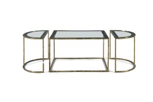 CHRISTOFLE A set of three brass coffee tables by Christofle, with glass tops, France c.1950s.