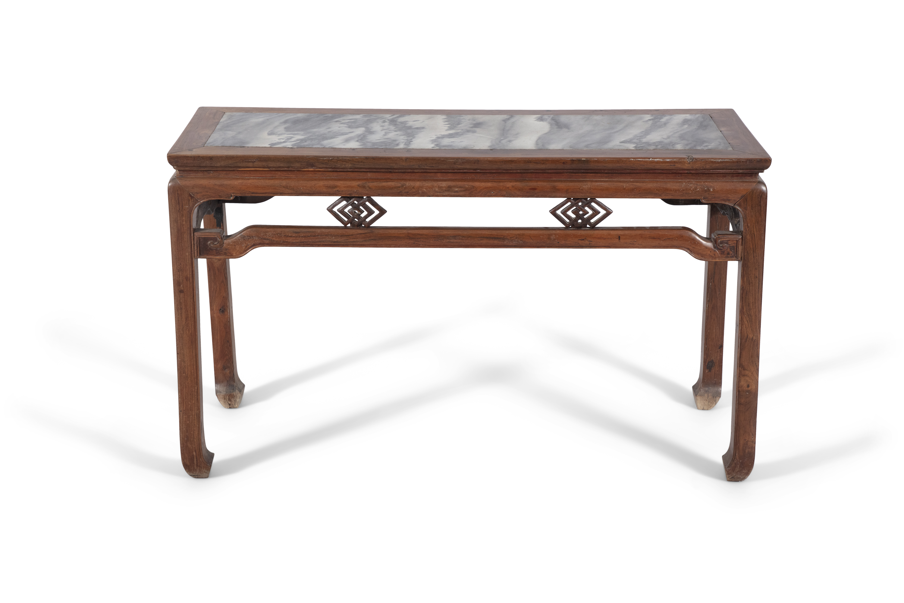 A WOODEN LOW ALTAR TABLE SET WITH A MARBLE PLAQUE China, Late Qing Dynasty, Circa 1900 The apron - Image 3 of 14