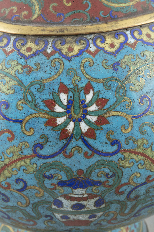 A LARGE 'ASHTAMANGALA' CLOISONNE BRONZE JAR, HU China, Qing Dynasty, 19th century Richly adorned - Image 16 of 24