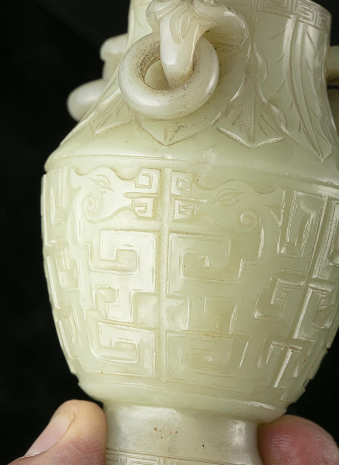 A PAIR OF SMALL JADE LIDDED URNS WITH LOOSE RINGS China, Qing Dynasty, 19th century The body - Image 12 of 30