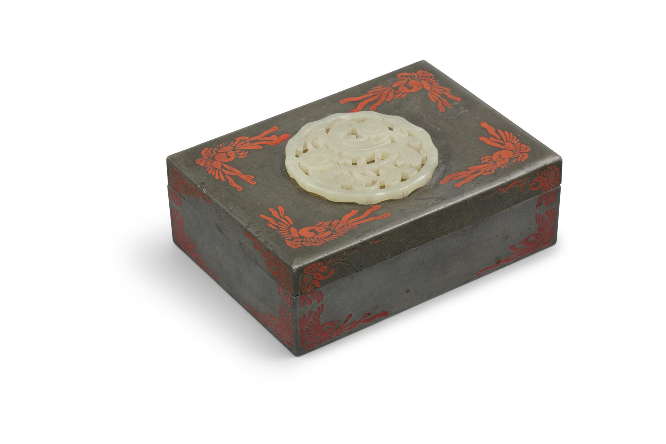 A PARCEL LACQUERED PEWTER LIDDED BOX SET WITH A JADE PIECE BY YAMANAKA & CO The box made in Japan, - Image 13 of 15