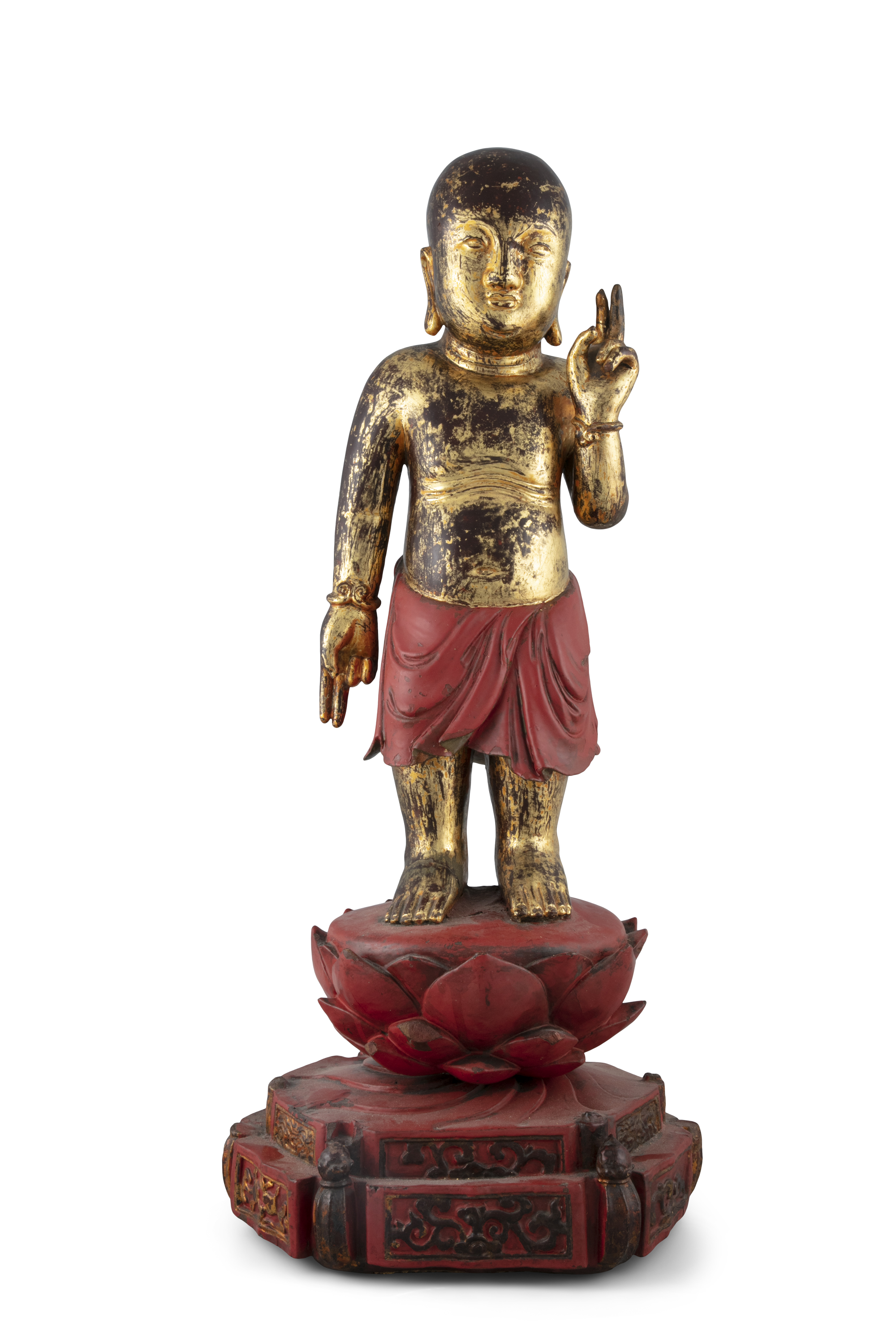 A LARGE GILT-LACQUERED WOODEN SCULPTURE OF THE STANDING INFANT BUDDHA China, Qing Dynasty (or - Image 5 of 20