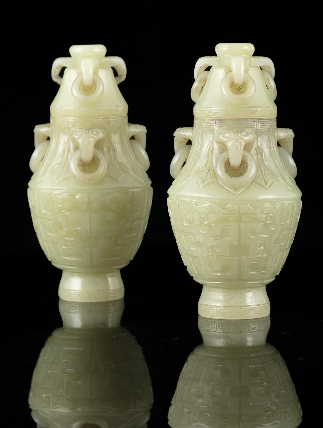 A PAIR OF SMALL JADE LIDDED URNS WITH LOOSE RINGS China, Qing Dynasty, 19th century The body - Image 11 of 30