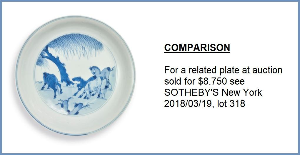 A BLUE AND WHITE 'EIGHT HORSES OF WANG MU' PORCELAIN DISH China, Qing Dynasty, Kangxi mark and - Image 12 of 17