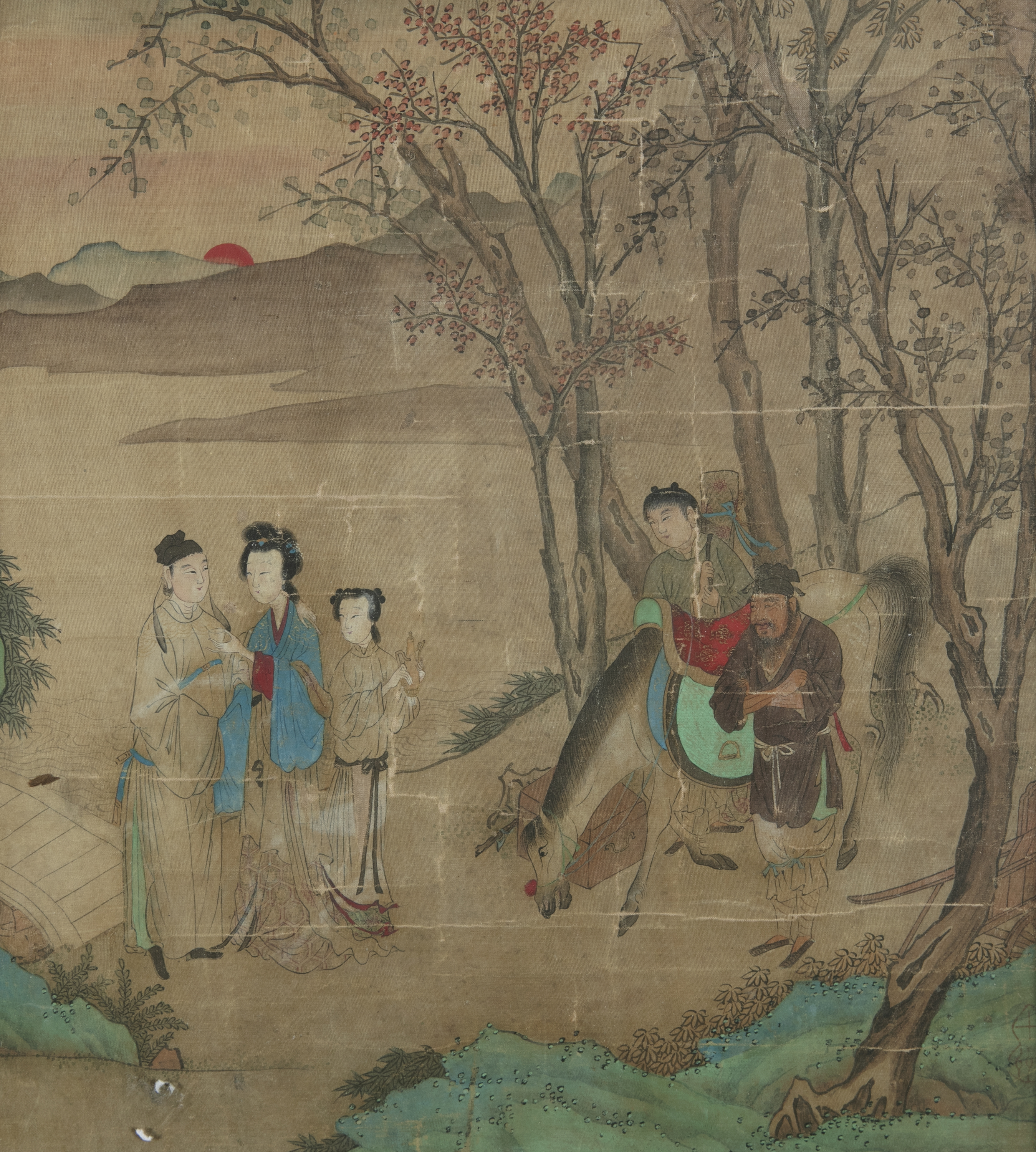 CHINESE SCHOOL, SEAL OF QIU YING 仇英 (1494-1552) Lady and attendants in a landscape at dawn
