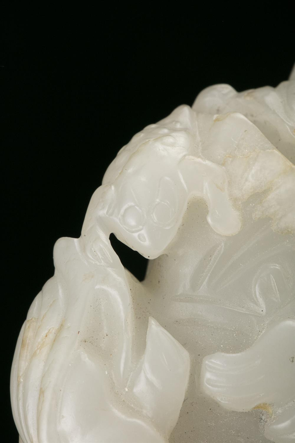 A WHITE AND RUSSETS JADE CARVING OF A HOHO / HEHE / ERXIAN / 和合二仙 China The boy is depicted grasping - Image 17 of 20