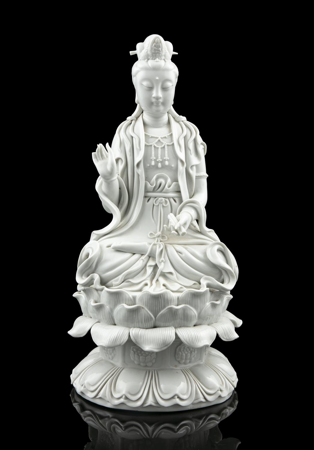 A LARGE DEHUA FIGURE OF A SEATED GUANYIN China, 19th to 20th century The goddess of mercy is - Image 14 of 18