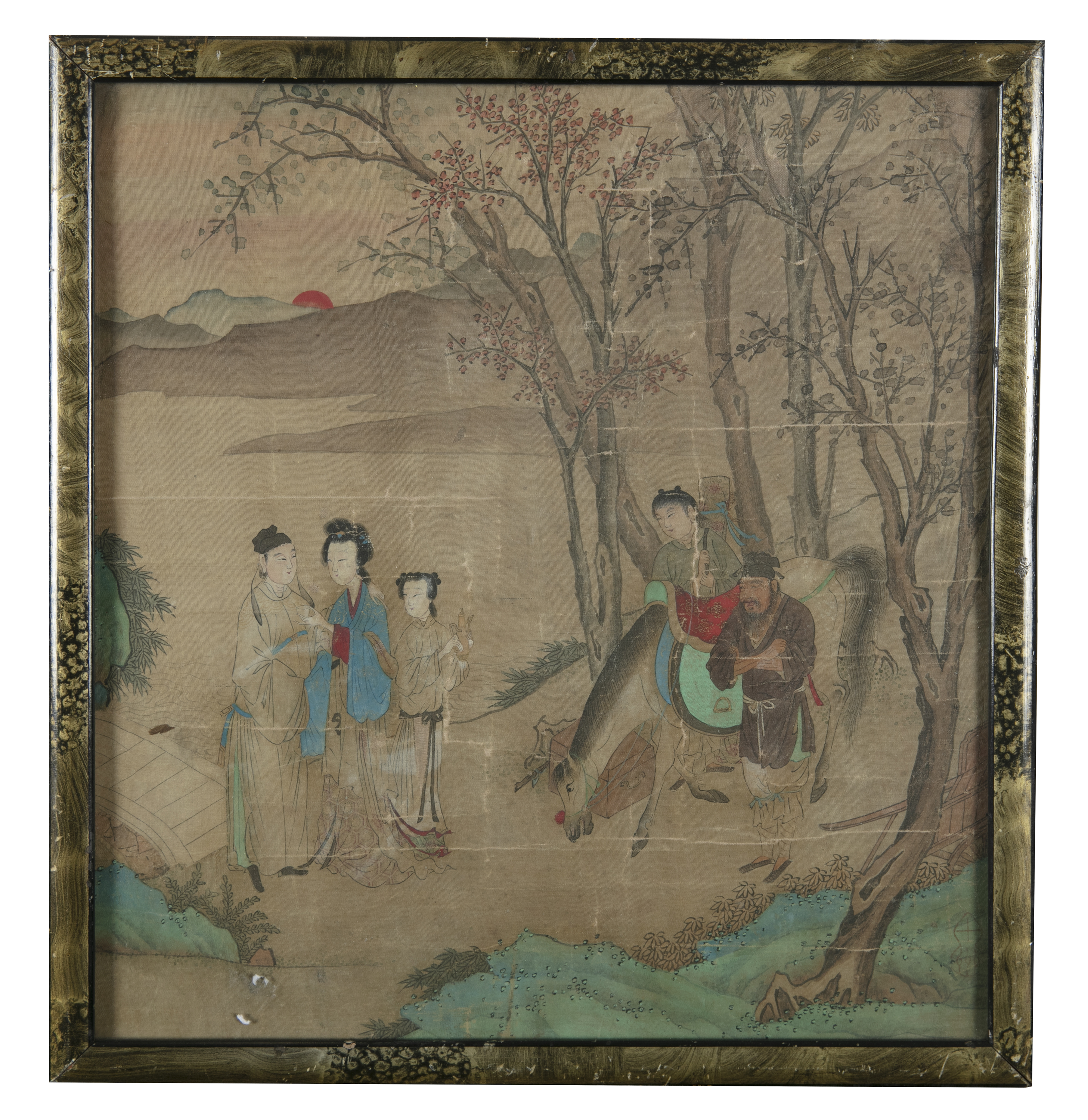 CHINESE SCHOOL, SEAL OF QIU YING 仇英 (1494-1552) Lady and attendants in a landscape at dawn - Image 5 of 10
