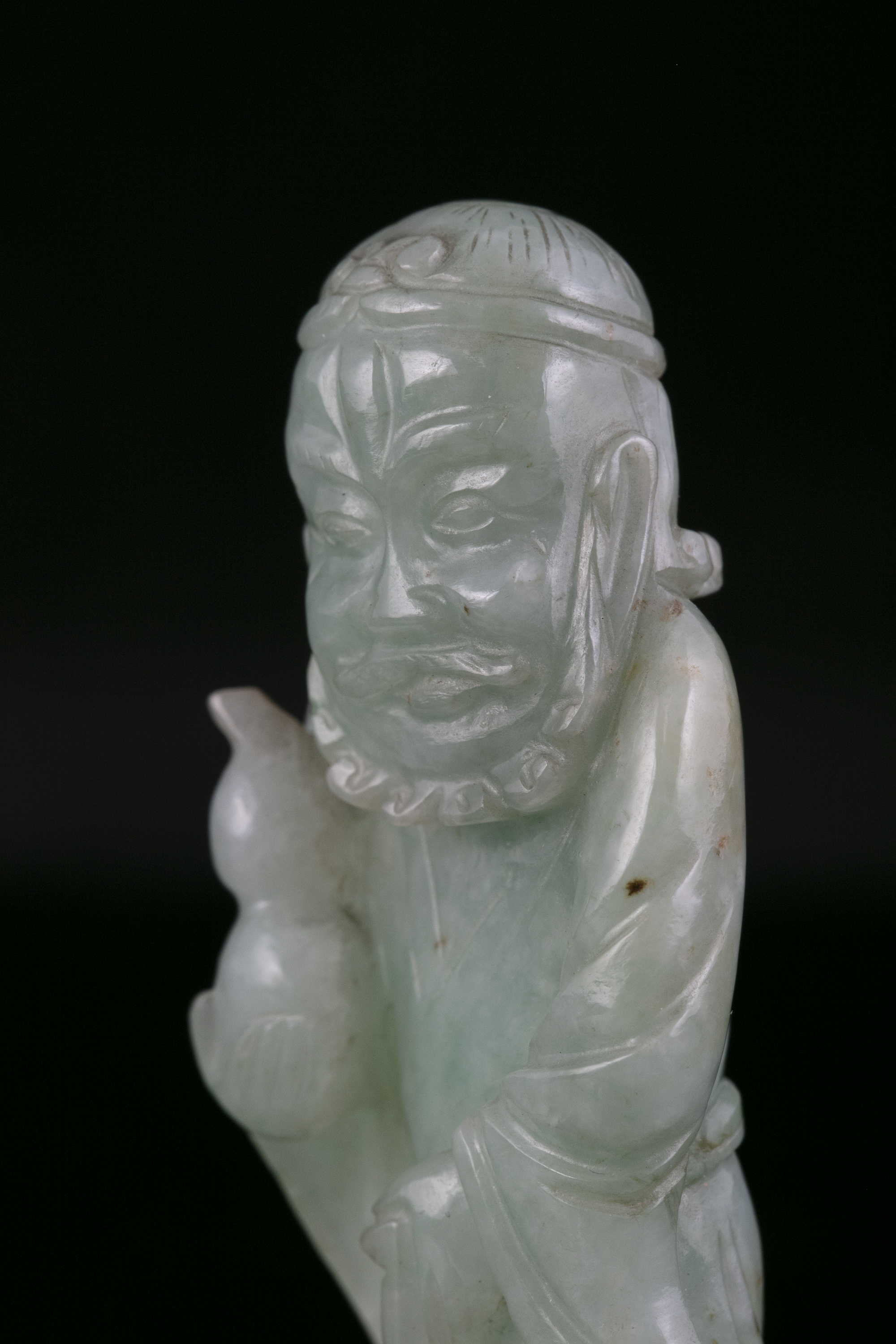 A JADEITE JADE FIGURE OF A STANDING TIEGUAI LI China, Circa 1900 The immortal is depicted with a - Image 7 of 20