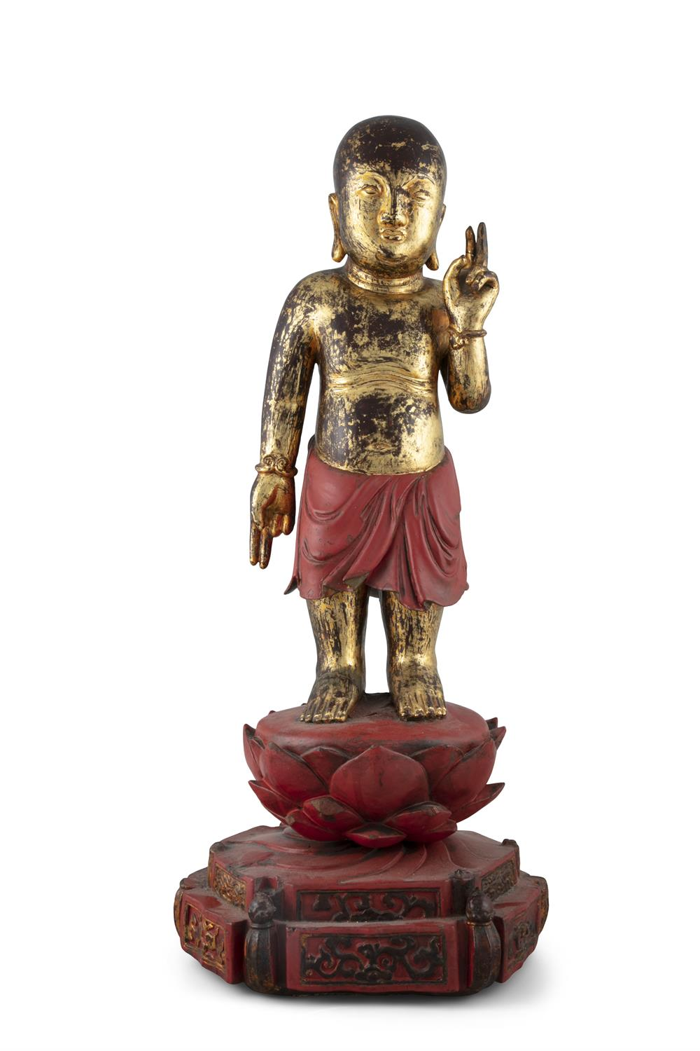 A LARGE GILT-LACQUERED WOODEN SCULPTURE OF THE STANDING INFANT BUDDHA China, Qing Dynasty (or - Image 16 of 20