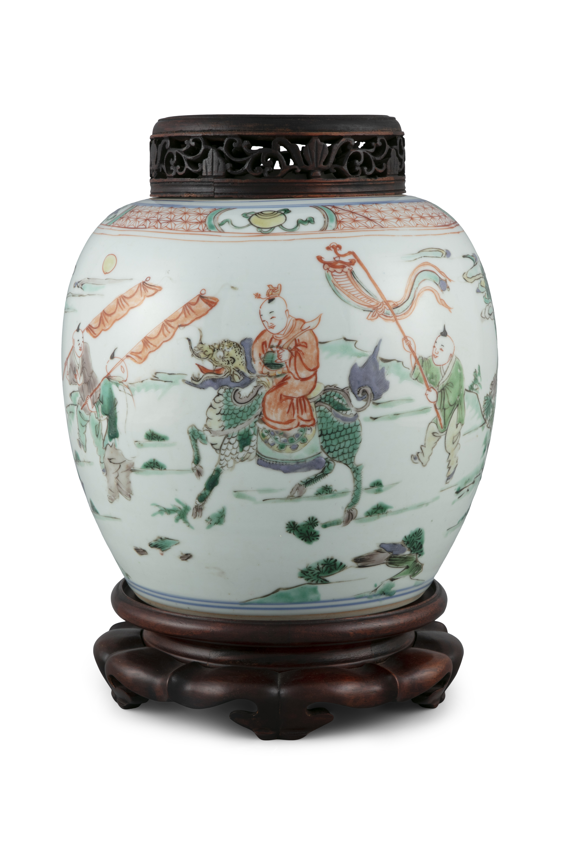 A FAMILLE VERTE 'BOY AND QILIN' PORCELAIN GINGER JAR China, Qing Dynasty, Kangxi period Adorned in