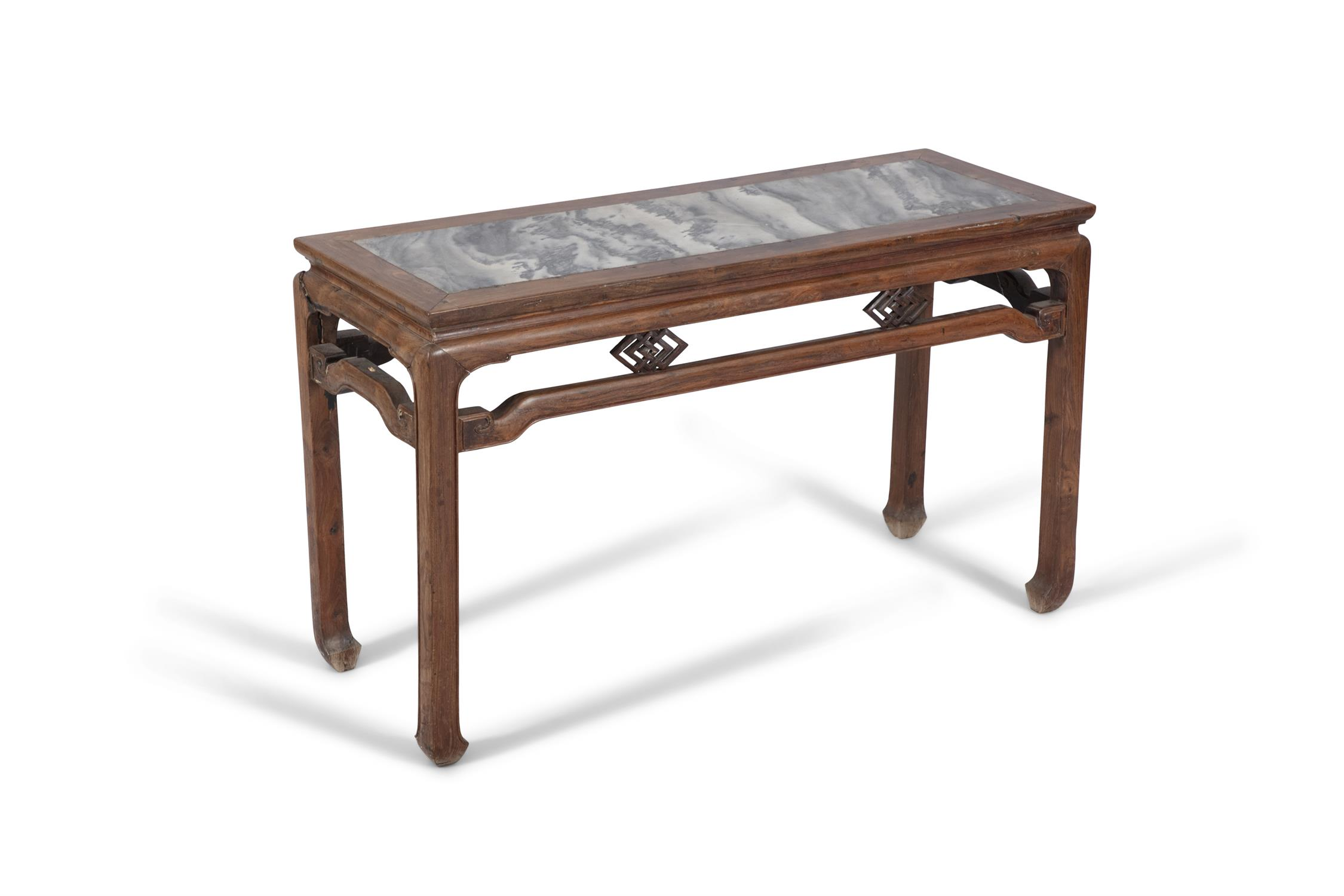 A WOODEN LOW ALTAR TABLE SET WITH A MARBLE PLAQUE China, Late Qing Dynasty, Circa 1900 The apron - Image 11 of 14