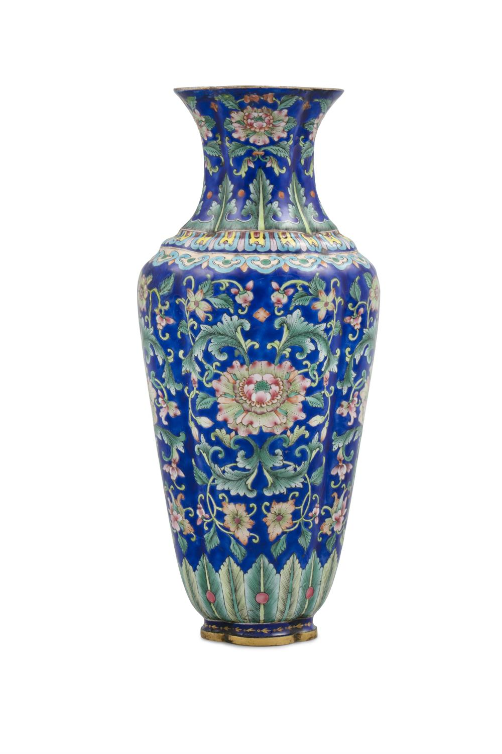 AN ENAMELED COPPER QUATREFOIL VASE China, Beijing, Qing Dynasty, 18th to 19th century Richly adorned - Image 9 of 11
