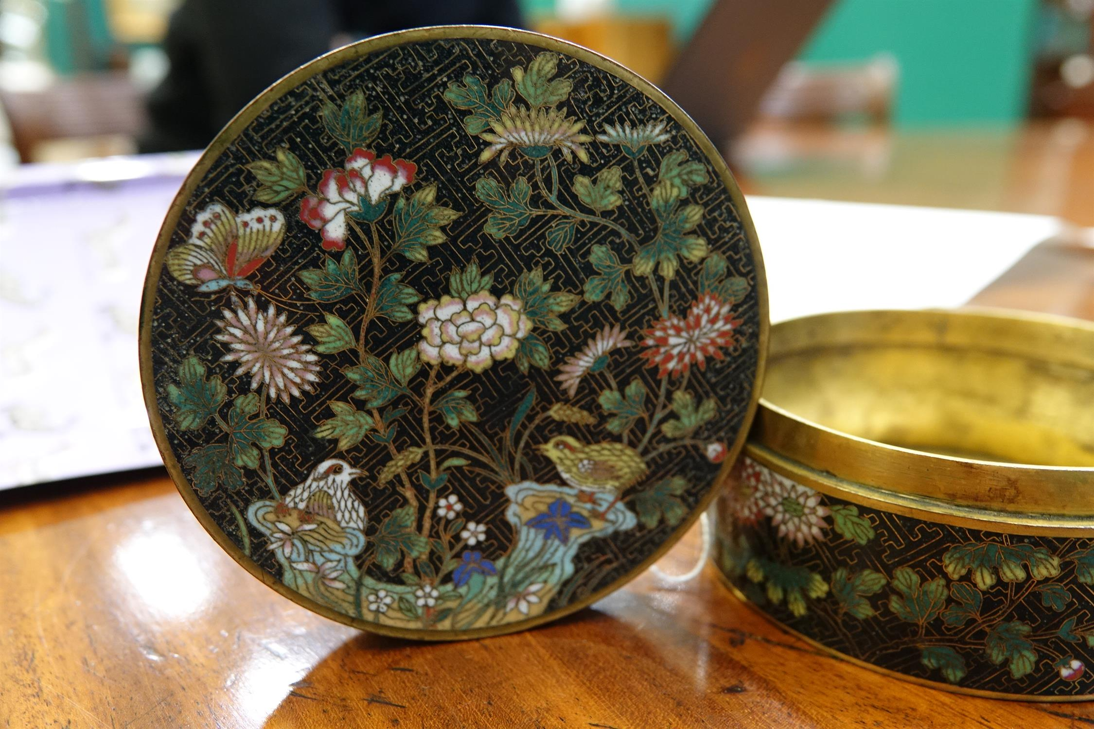A 'FLOWER AND ROCKS' ROUND CLOISONNE BOX AND COVER China, Late Qing to Republican / Minguo period - Image 16 of 36