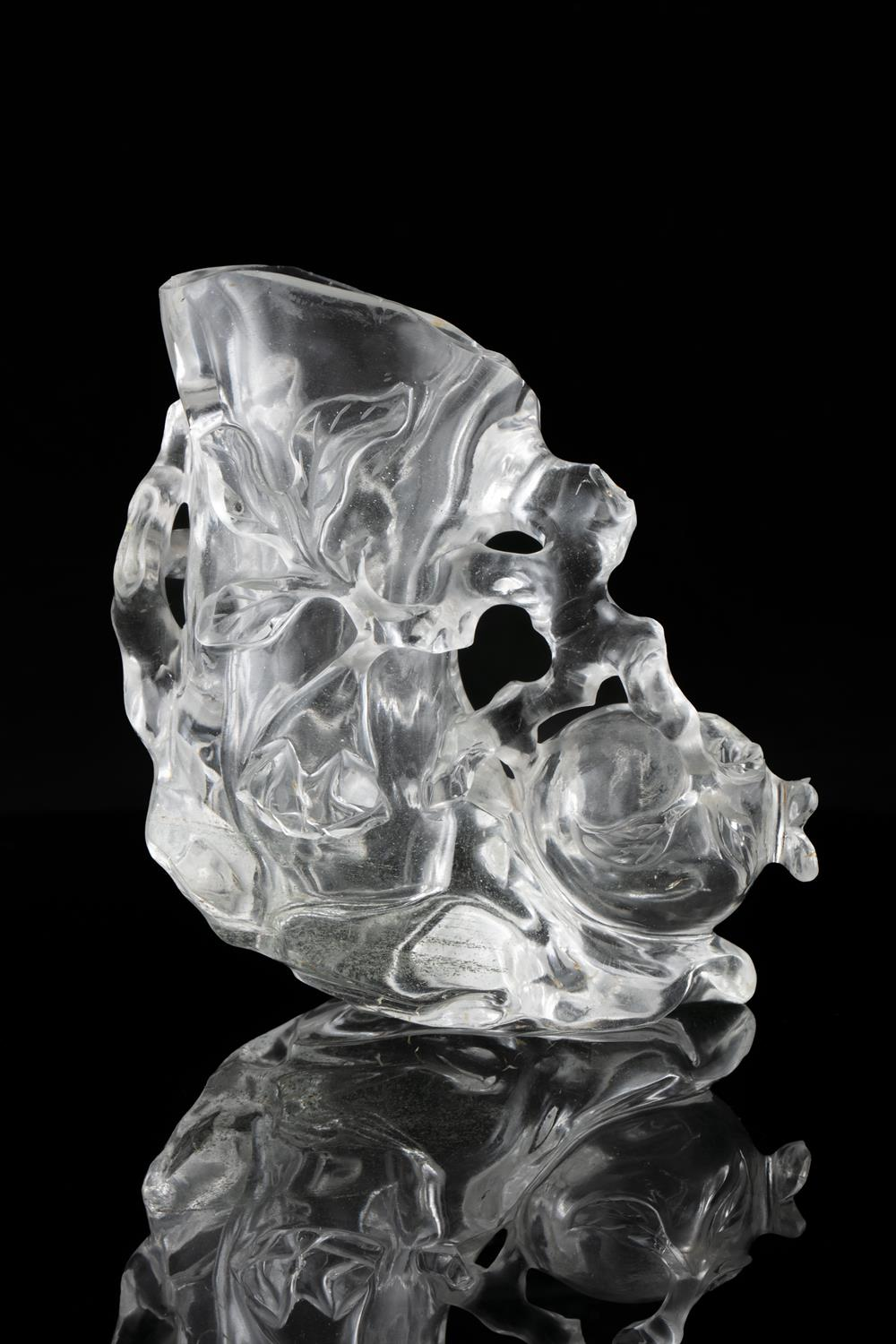 A CARVED ROCK CRYSTAL 'POMEGRANATE' BRUSH HOLDER AND WASHER China, 19th to 20th century Carved - Image 13 of 14