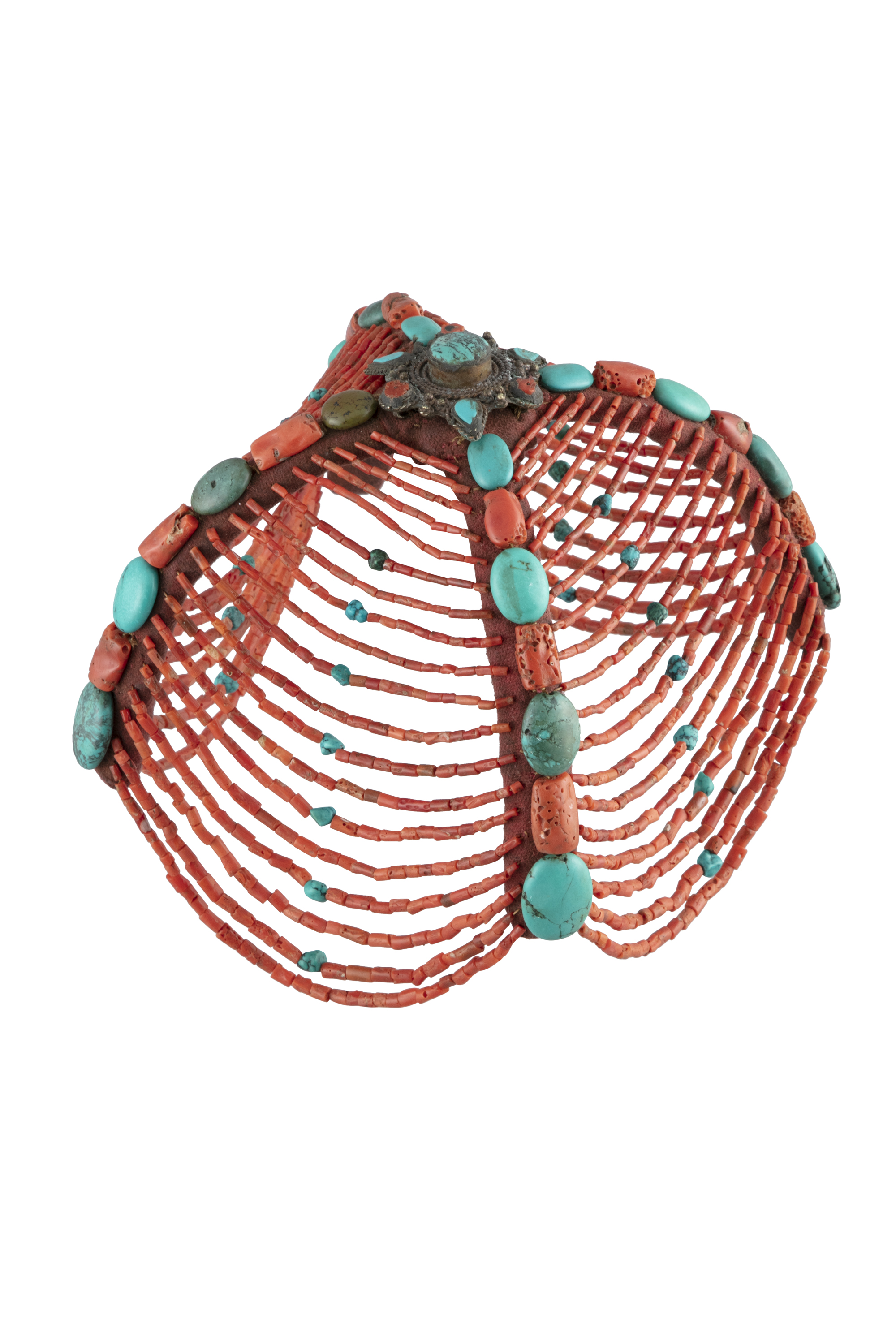*A TIBETAN CEREMONIAL HEADDRESS Tibet, Himalaya, Likely mid 20th century With turquoise and corals